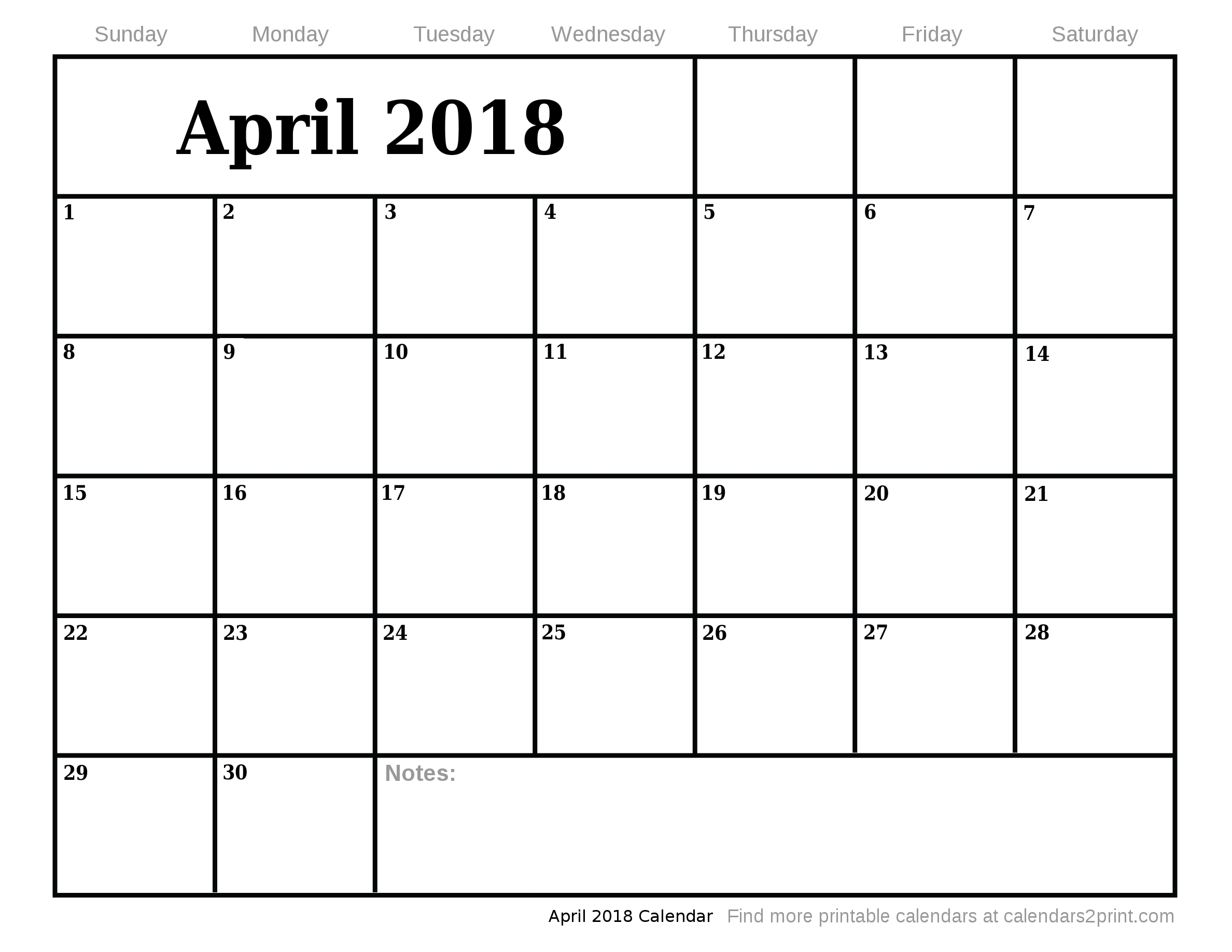 Calendar For April And May : April printable calendar