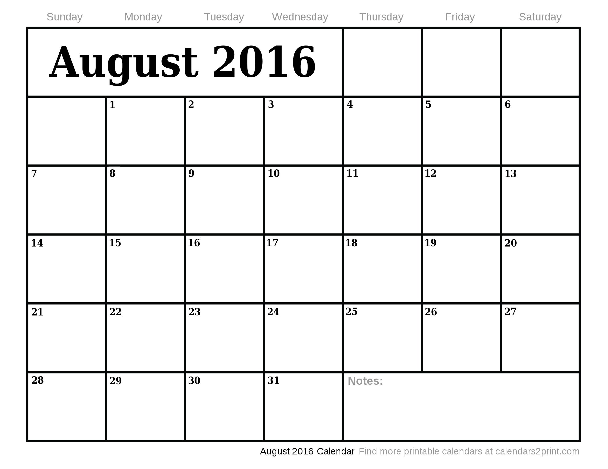 July 2016 Calendar | September 2016 Calendar »