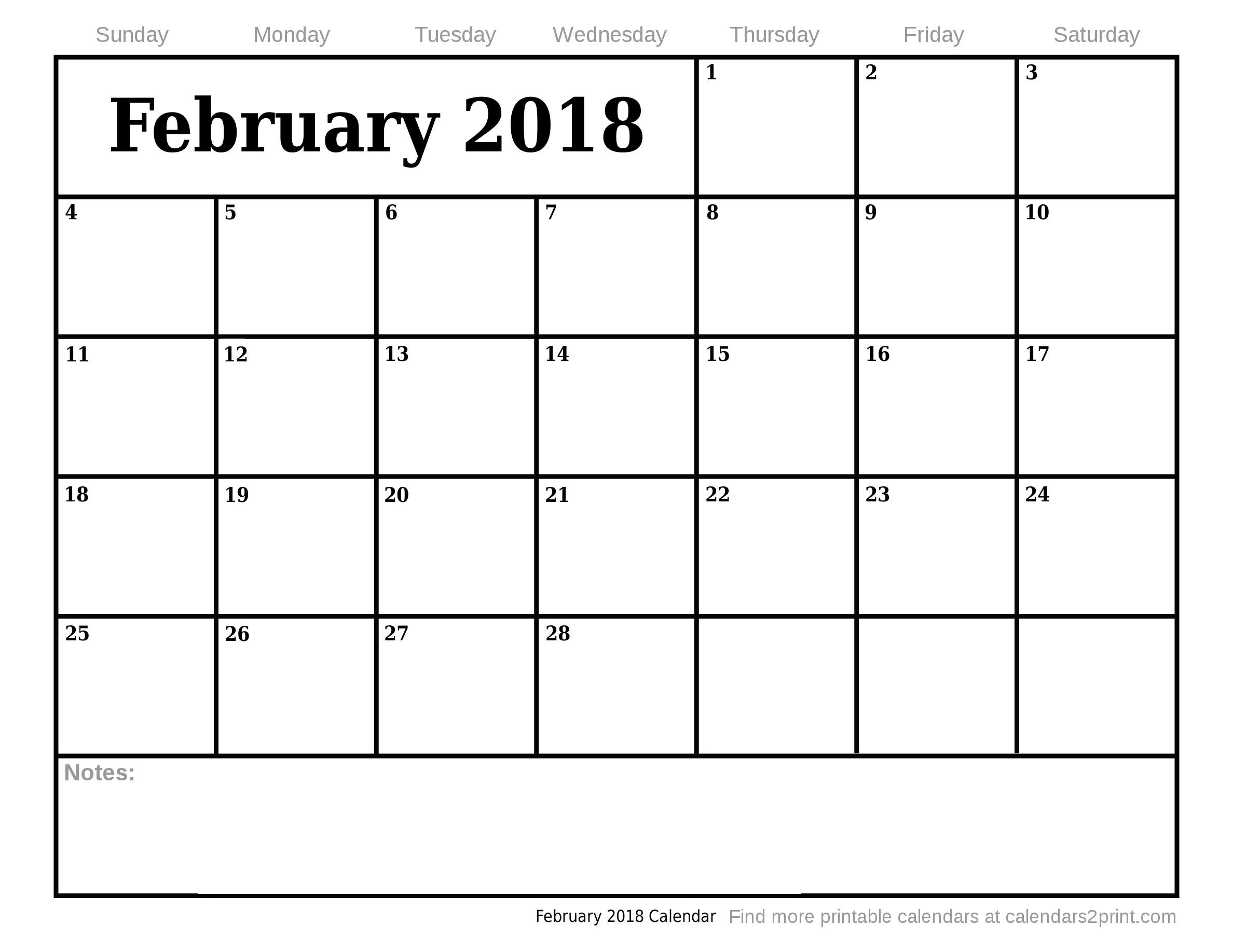February 2018 Printable Calendar, March 2018 Calendar