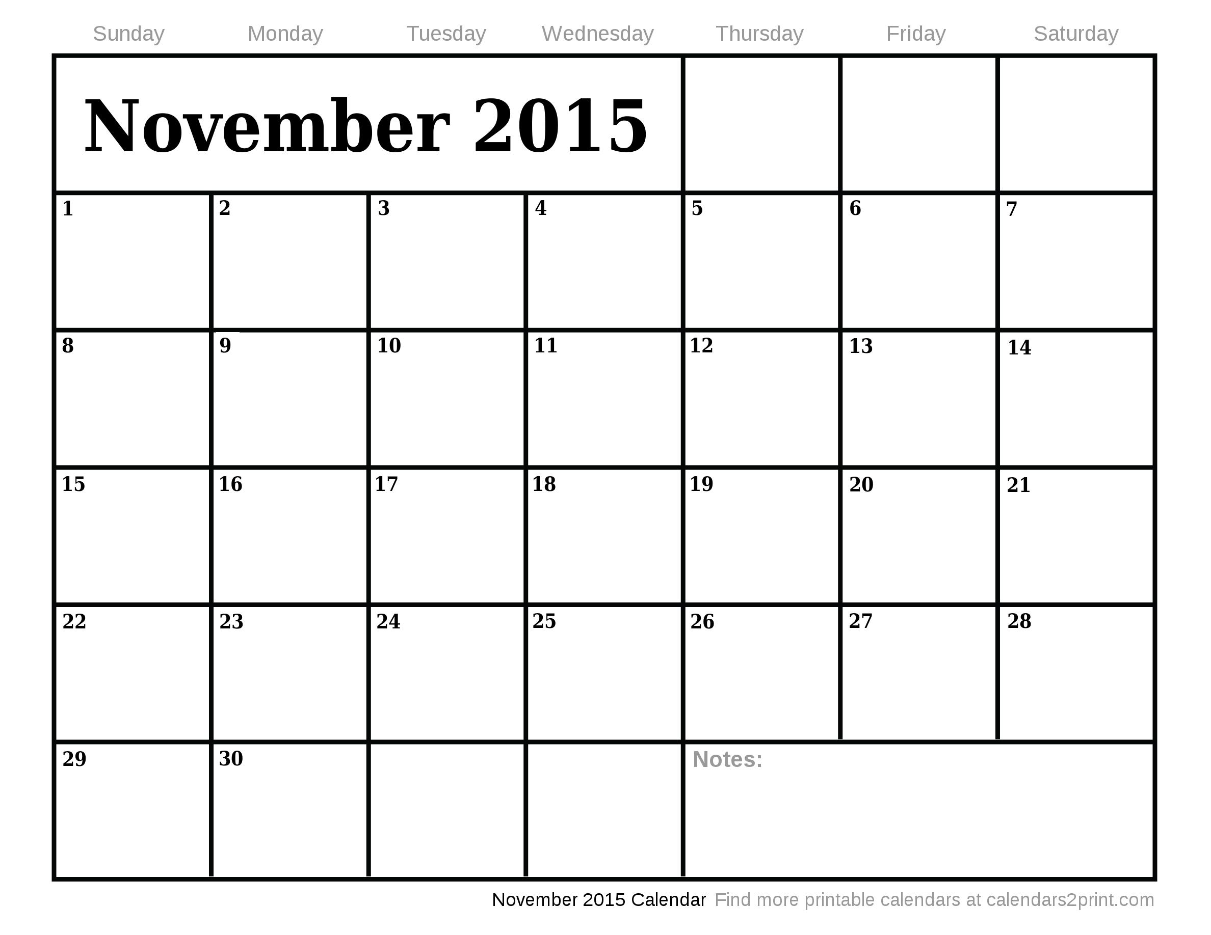 October 2015 Calendar   December 2015 Calendar »