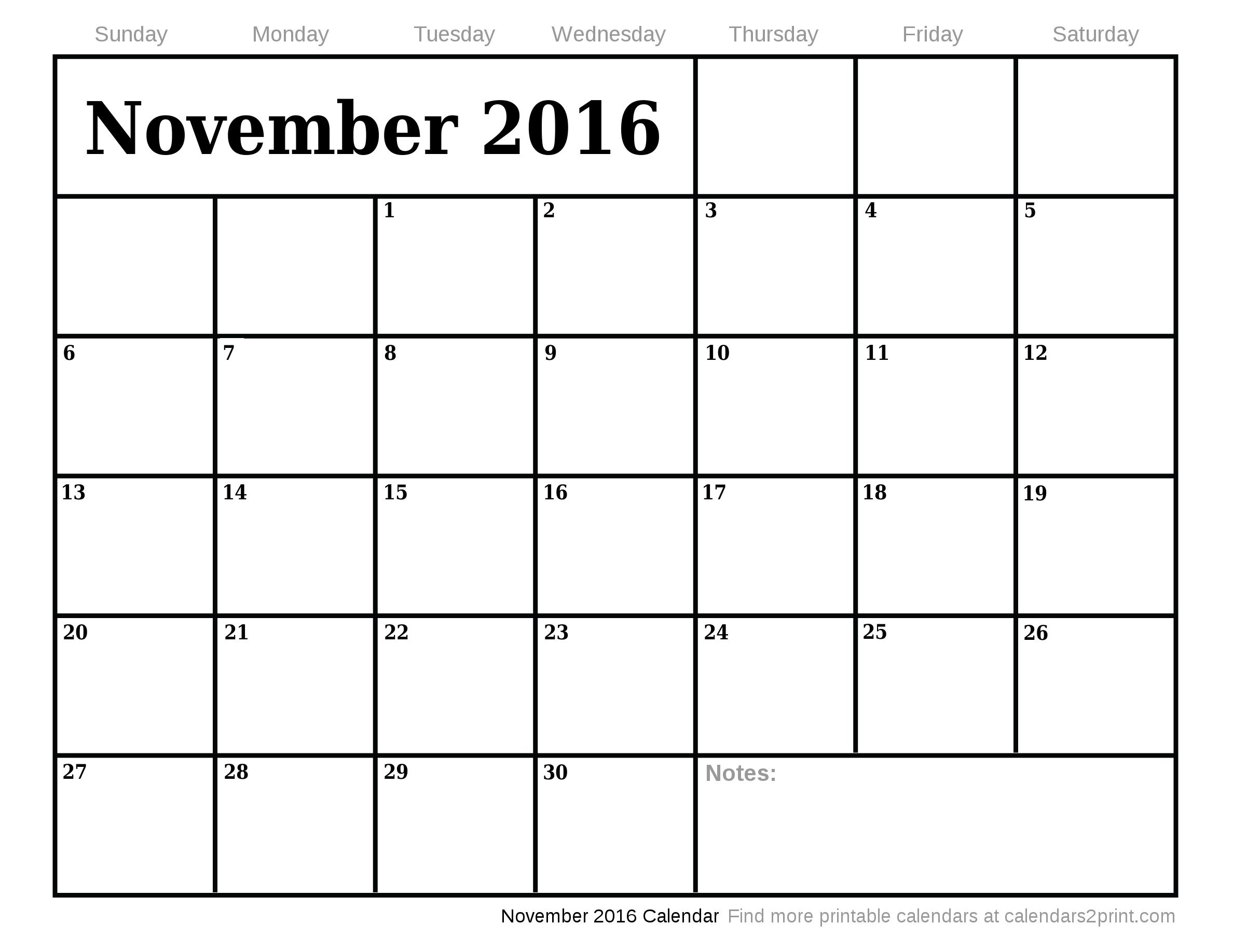 October 2016 Calendar   December 2016 Calendar »