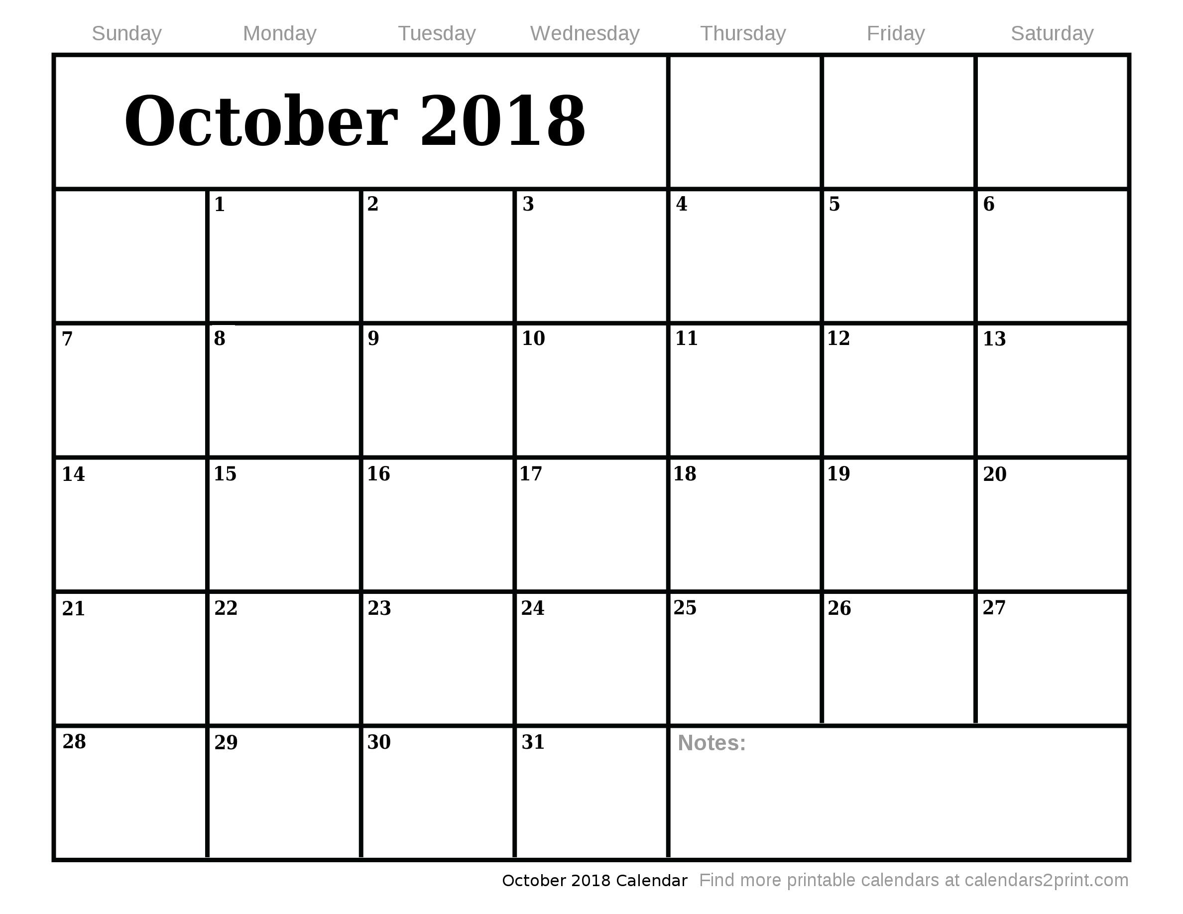 blank calendar oct 2018