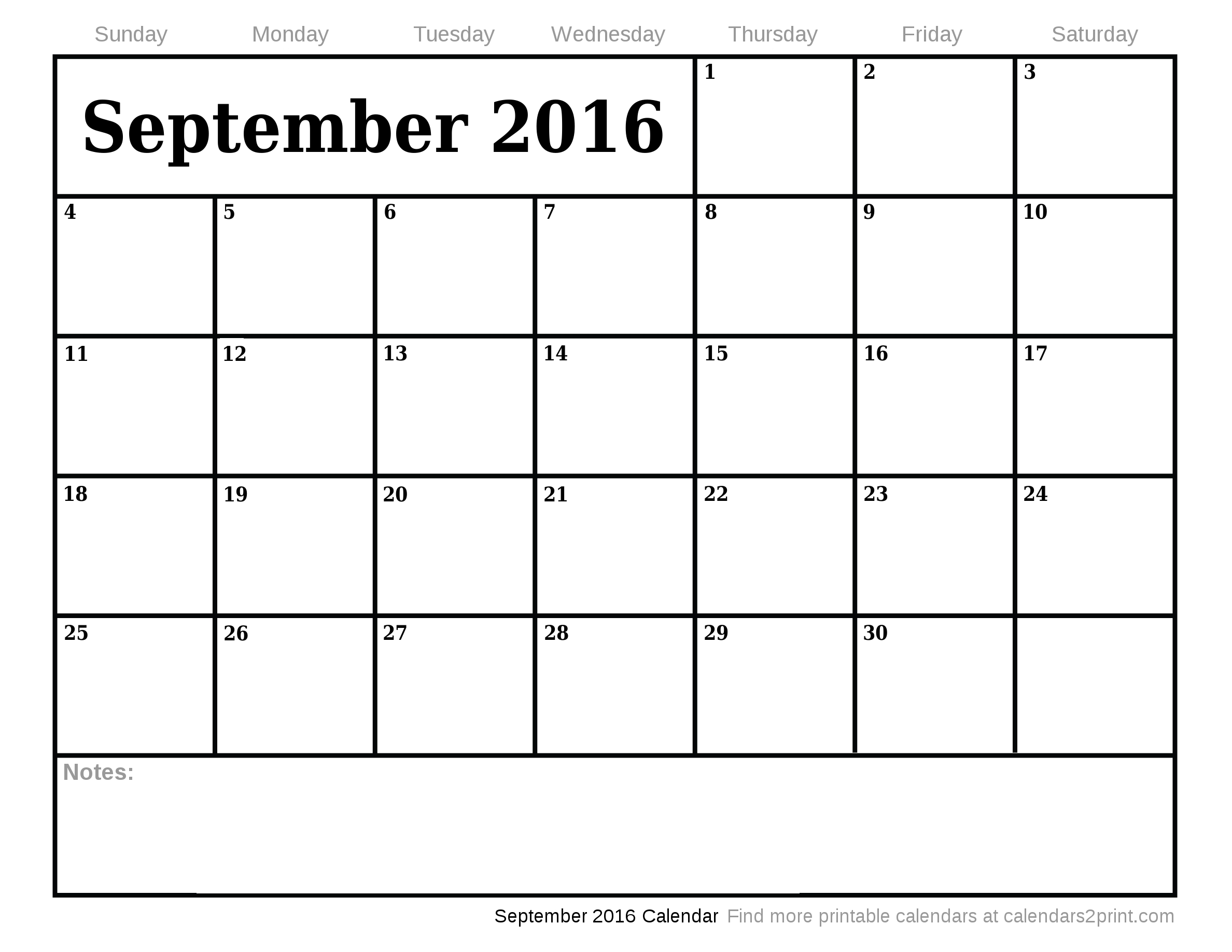 September 2016 Printable Calendar, October 2016 Calendar